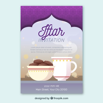 Convite de festa iftar com comida e chá