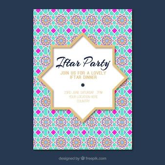 Convite de festa iftar com padrão de mandalas
