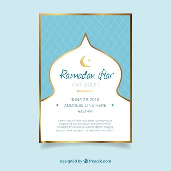 Convite de festa iftar com padrão