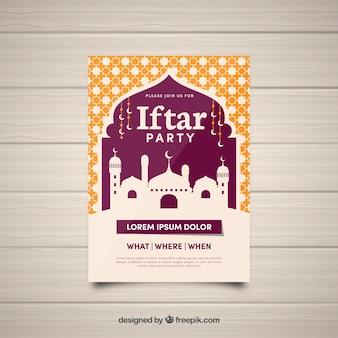 Convite de festa iftar com silhueta de mesquita