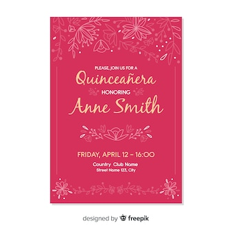 Convite de festas cor-de-rosa do quinceañera