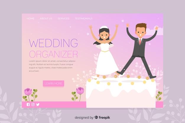 Convite de festas da página de destino do casamento