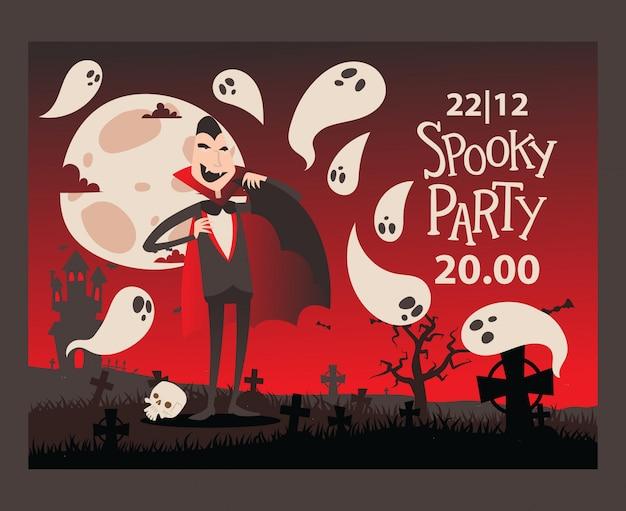 Convite de festas do dia das bruxas do estilo do vampiro