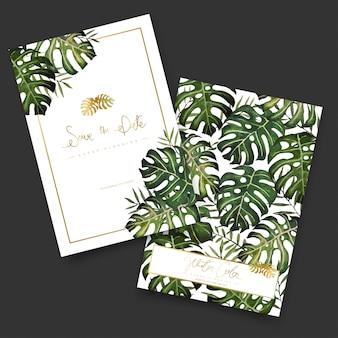 Convite de folhas de palmeira em aquarela