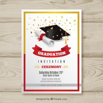 Convite de formatura elegante com design realista
