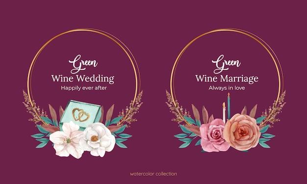 Convite de grinalda de casamento com flores em estilo aquarela