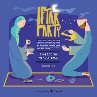 Convite de iftar desenhada mão