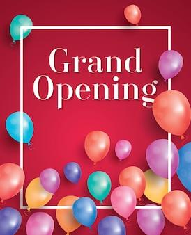 Convite de inauguração com moldura branca e balões.