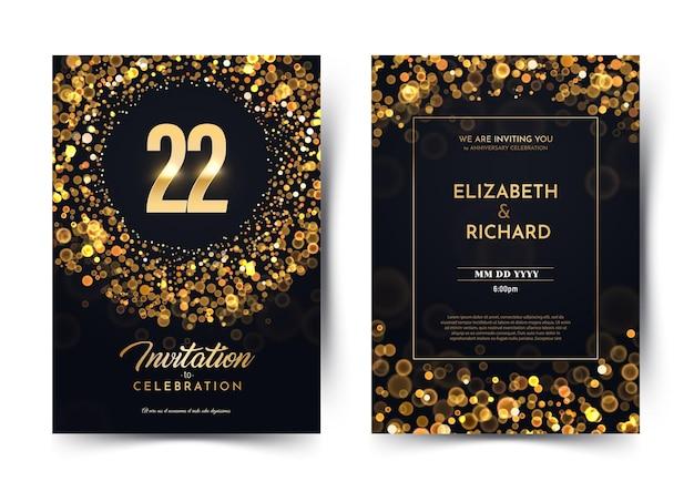 Convite de luxo de aniversário de 22 anos.