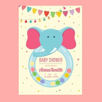 Convite de modelo de chuveiro de bebê para design de menina