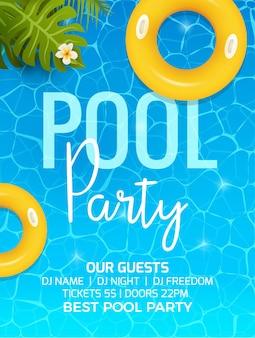 Convite de modelo de convite de festa de verão na piscina. convite para festa na piscina com palma. desenho vetorial de cartaz ou folheto.