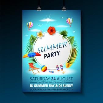 Convite de modelo de convite de festa de verão