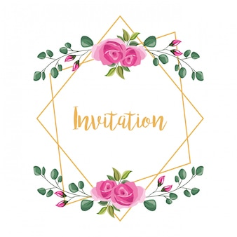Convite de moldura decorativa flor
