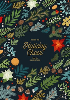 Convite de natal com plantas, florais, poinsétia, ramos de abeto e pinheiro, bagas.