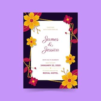 Convite de noivado com flores coloridas