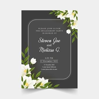 Convite de noivado com modelo de flores