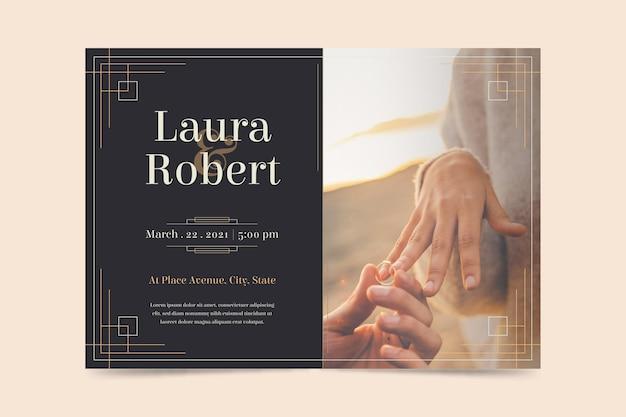 Convite de noivado com modelo de imagem
