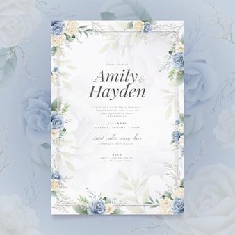 Convite de noivado com motivo floral