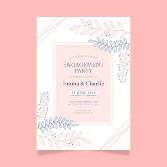 Convite de noivado com ornamentos elegantes