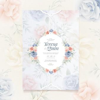 Convite de noivado com tema floral
