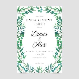 Convite de noivado de design floral