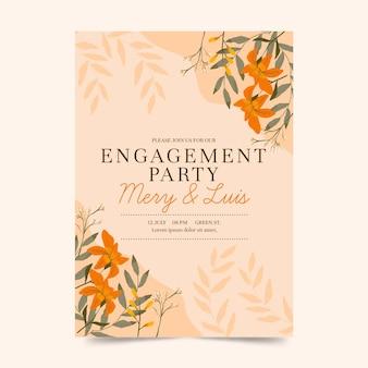 Convite de noivado floral