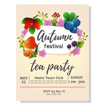 Convite de outono festa de chá com cranberry mirtilo