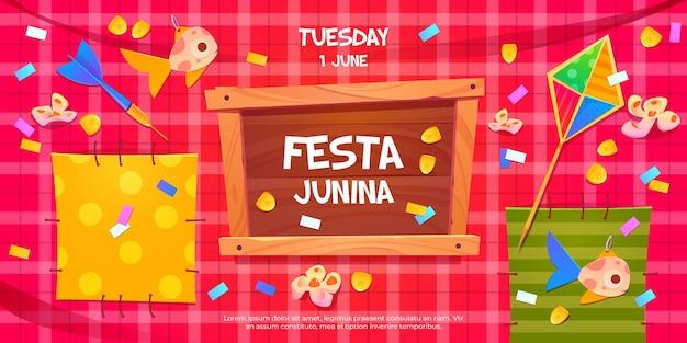 Convite de panfleto de desenho animado festa junina na festa