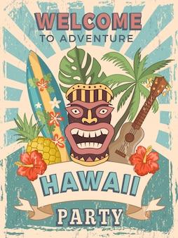 Convite de poster retro para festa havaiana