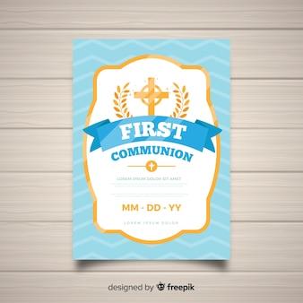 Convite de primeira comunhão de moldura dourada