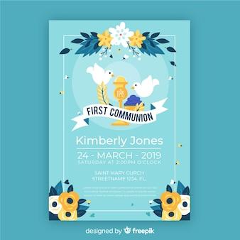Convite de primeira comunhão desenhado mão pombas