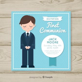 Convite de primeira comunhão menino desenhado mão