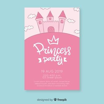 Convite de princesa de aniversário de castelo desenhado de mão