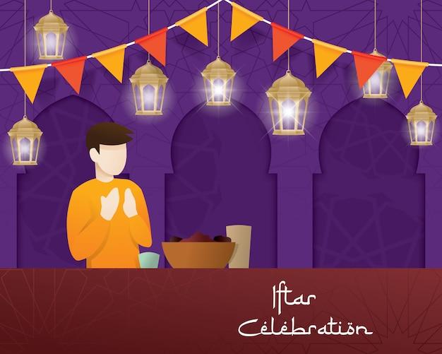Convite de saudação de festa iftar
