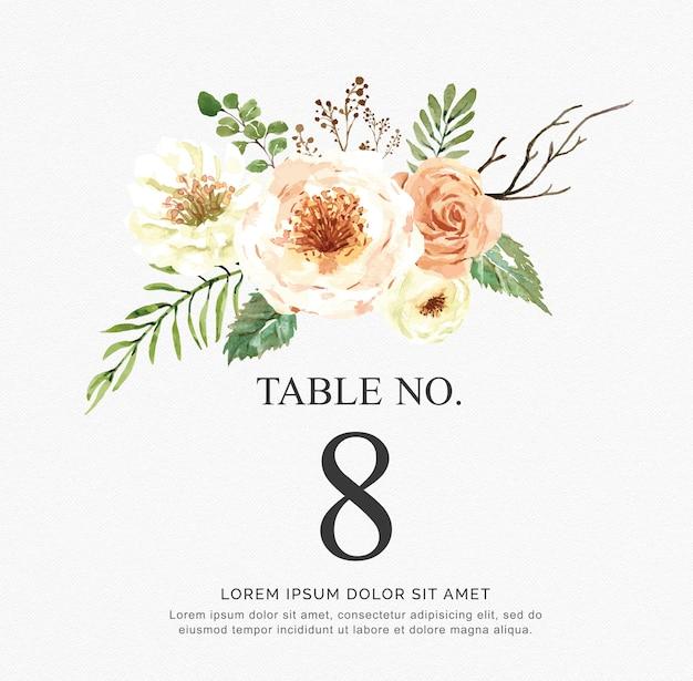 Convite de vetor aquarela bonita com flores e ramo. números de mesa para casamento.