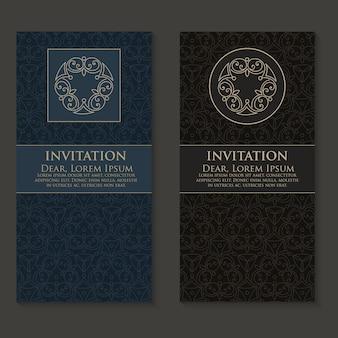Convite de vetor, cartões com elementos de arabescos étnicos.