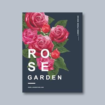 Convite decorativo do cartaz da flor da flor