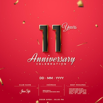 Convite do 11º aniversário com detalhes dourados