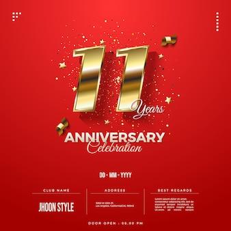 Convite do 11º aniversário com edição número ouro