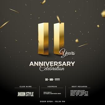 Convite do 11º aniversário com números dourados 3d