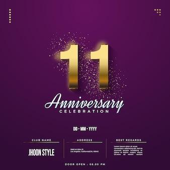 Convite do 11º aniversário com números dourados