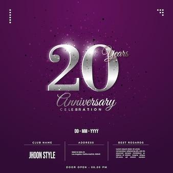 Convite do 20º aniversário com algarismos de prata