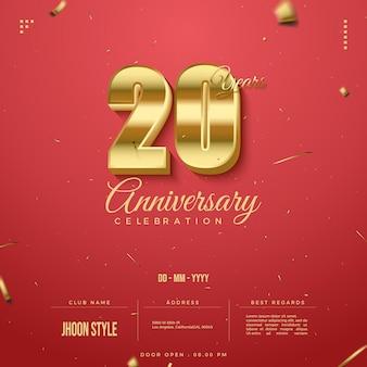 Convite do 20º aniversário com algarismos dourados brilhantes