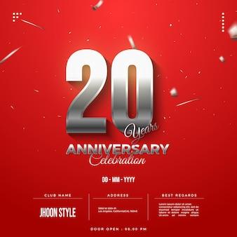 Convite do 20º aniversário com algarismos prateados cintilantes
