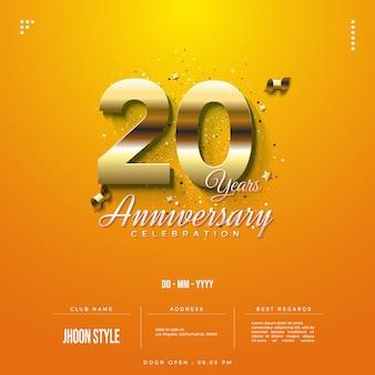 Convite do 20º aniversário com ilustração de glitter dourados