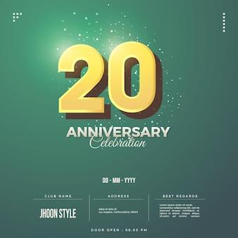 Convite do 20º aniversário com marrom