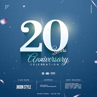 Convite do 20º aniversário com número e data