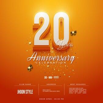 Convite do 20º aniversário com números 3d em fundo laranja