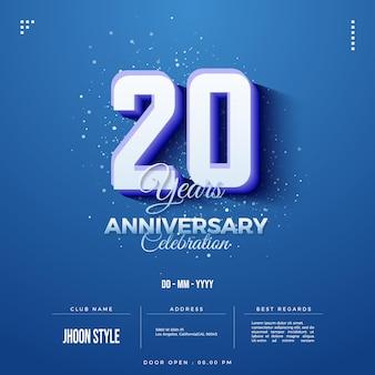 Convite do 20º aniversário com números 3d em relevo