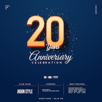 Convite do 20º aniversário com números 3d sombreados